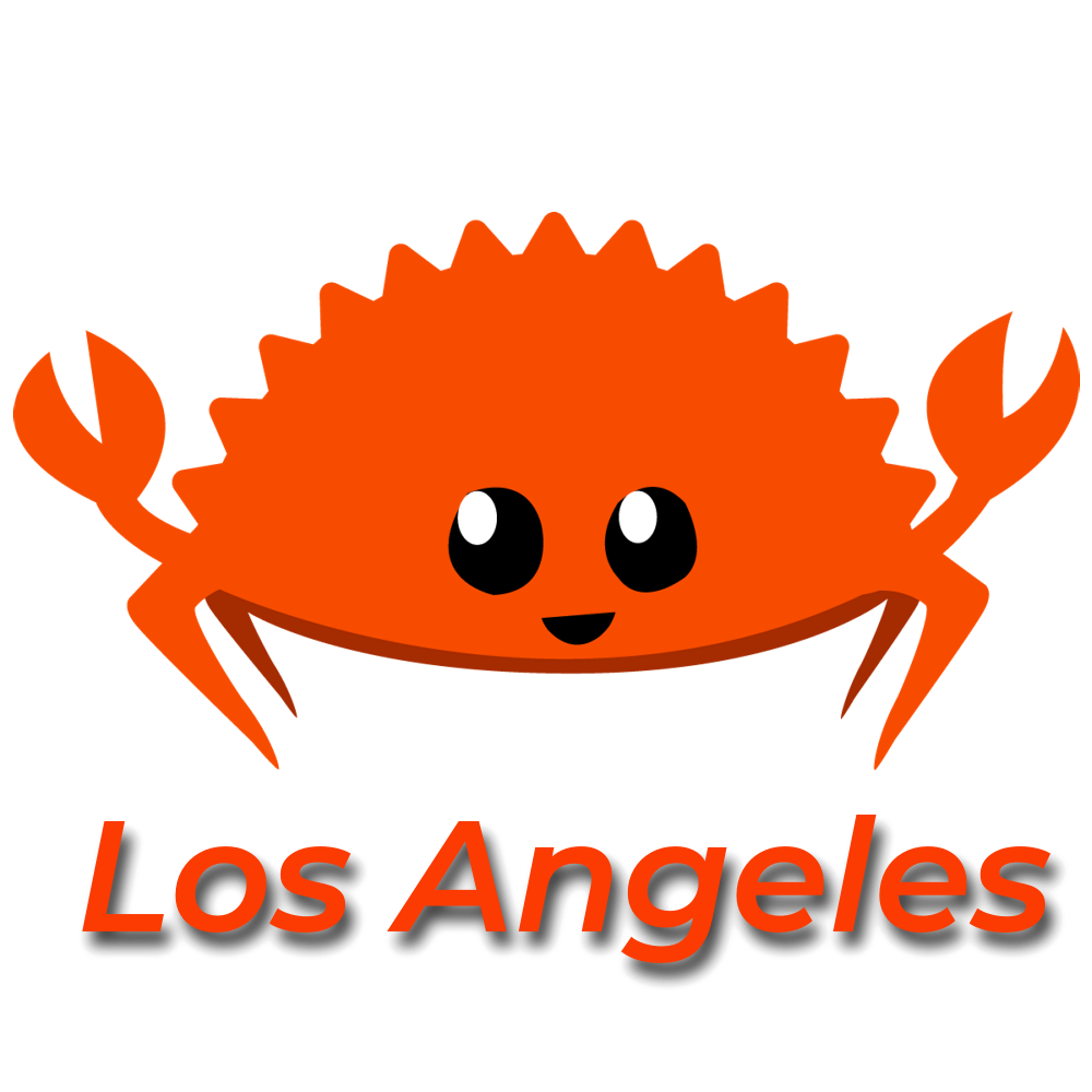 rust lang ferris crab los angeles logo